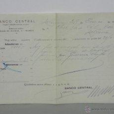 Documentos bancarios: RESGUARDO BANCO CENTRAL ALCALÁ 51 MADRID 4000 PESETAS ENERO 1940 ABONO EN CUENTA. Lote 42967183
