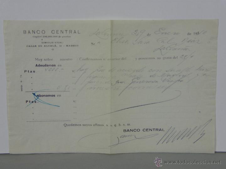 Documentos bancarios: Resguardo Banco central Alcalá 51 Madrid 4000 pesetas Enero 1940 abono en cuenta - Foto 3 - 42967183