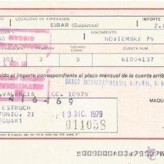 Documentos bancarios: +-+ W315 - LETRA DE CAMBIO - MAQUINAS DE COSER ALFA - 1979. Lote 43201612
