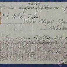 Documentos bancarios: CHEQUE. BANCO HISPANO AMERICANO. LA CORUÑA 1913. Lote 43204741