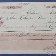 Documentos bancarios: CHEQUE. BANCO HERRERO, OVIEDO. 1913.. Lote 43205213