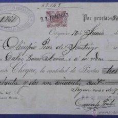 Documentos bancarios: CHEQUE. P. P. DE ANDRÉS PRIETO. ORTIGUEIRA. 1913.. Lote 43205564