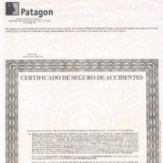 Documentos bancarios: CERTIFICADO DE SEGURO DE ACCIDENTES BANCO PATAGON (DESAPARECIDO) ANTIGUO. Lote 43224099
