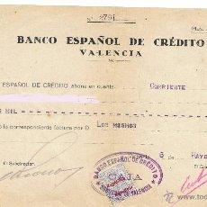 Documentos bancarios: 1932 BANCO ESPAÑOL DE CREDITO VALENCIA - CON SELLO. Lote 43585689