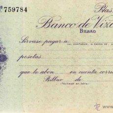 Documentos bancarios: ANTIGUO CHEQUE BANCO DE VIZCAYA BILBAO EN PLANCHA IMPECABLE AÑOS 40 MOD 3599 LIT.GRIJELMO S.A BILBAO. Lote 43617890