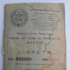 Documentos bancarios: LIBRETA DE LOS PREVISORES DEL PORVENIR 1926 AHORRO PARA PENSIONES VITALICIAS DE 82 PAGINAS. Lote 45127295
