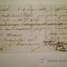 Documentos bancarios: LETRA DE CAMBIO EXPEDIDA EN MARSELLA Y ABONADA EN BARCELONA DEL AÑO 1818. Lote 46388610