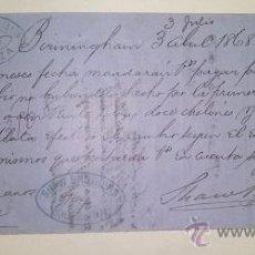 Documentos bancarios: LETRA DE CAMBIO EMITIDA EN BIRMINGHAN Y ABONADA EN ZARAGOZA AÑO 1868. Lote 46388660