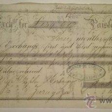 Documentos bancarios: LETRA DE CAMBIO ABONADA EN ZARAGOZA DUPLA HERMANOS CON SELLO DEL BANCO DE CREDITO DE ZARAGOZA 1875. Lote 46388790