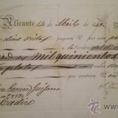 Documentos bancarios: BONITA LETRA DE CAMBIO EMITIDA EN ALICANTE EN 1849 FIRMADA POR EL CONDE DE CASA ROJAS. Lote 46388995