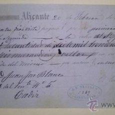 Documentos bancarios: BONITA LETRA DE CAMBIO EMITIDA EN ALICANTE EN 1855 FIRMADA POR EL CONDE DE CASA ROJAS. Lote 46389076