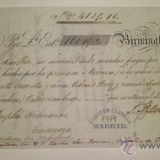 Documentos bancarios: LETRA DE CAMBIO EMITIDA EN BIRMINGHAN Y ABONADA EN ZARAGOZA DUPLA HERMANOS 1876. Lote 46389109