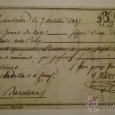 Documentos bancarios: LETRA DE CAMBIO EMITIDA EN MARSELLA Y ABONADA EN BARCELONA 1817. Lote 46389197