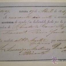 Documentos bancarios: BONITA LETRA DE CAMBIO EMITIDA EN LA HABANA Y ABONADA EN ALICANTE 1849 CONDE DE CASA ROJAS. Lote 46389287