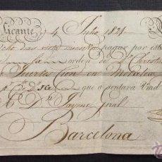 Documentos bancarios: LETRA DE CAMBIO. ALICANTE. 1821. 100 PESOS FUERTES.. Lote 46445059