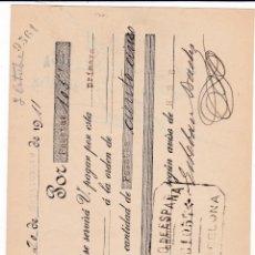 Documents bancaires: LETRA ESTEBAN BACHS BARCELONA A NICOLÁS MESTRES REUS 1911 RECIBE SUCURSAL REUS. Lote 46609933