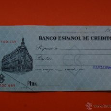 Documenti bancari: CHEQUE BANCO ESPAÑOL DE CREDITO ALICANTE. Lote 46724665