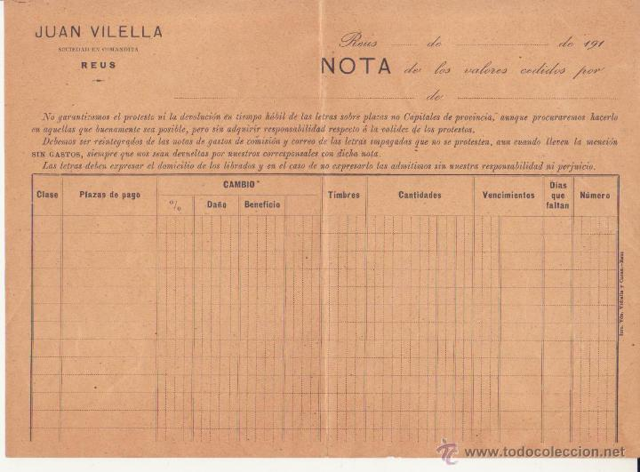 REUS JUAN VILELLA SOCIEDAD EN COMANDITA NOTA DE VALORES BANCA VILELLA IM VDA VIDIELLA Y CASAS 1910 (Coleccionismo - Documentos - Documentos Bancarios)