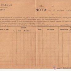 Documentos bancarios: REUS JUAN VILELLA SOCIEDAD EN COMANDITA NOTA DE VALORES BANCA VILELLA IM VDA VIDIELLA Y CASAS 1910. Lote 46958580