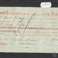 Documentos bancarios: ZARAGOZA - NARBONDE Y ROGER - AÑO 1874 - LETRA DE CAMBIO - (V-1895). Lote 47281627