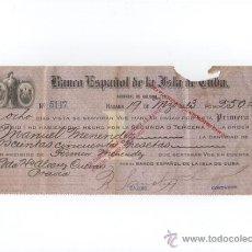 Documentos bancários: ANTIGUO CHEQUE BANCO ESPAÑOL DE CUBA DESTINADO A MANUEL MENENDEZ , EMIGRANTE ASTURIAS.1920. Lote 47320027