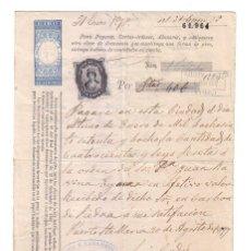Documentos bancarios: ANTIGUO PAGARÉ.AÑO 1877. Lote 47321359