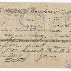 Documentos bancarios: LETRA DE CAMBIO AÑO 1921 - BANCO HISPANO AMERICANO. Lote 47376960