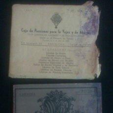 Documentos bancarios: AFJ. CARTILLA DE AHORROS DE LA CAJA DE PENSIONES, DE CARDONA AÑOS 40 LIBRETA. Lote 47669079
