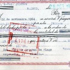 Documentos bancarios: LETRA CAMBIO 1964.CLASE 12.BANCO HISPANO AMERICANO.MANUFACTURAS CUMBRES,MADRID.TEXTIL. Lote 47721906