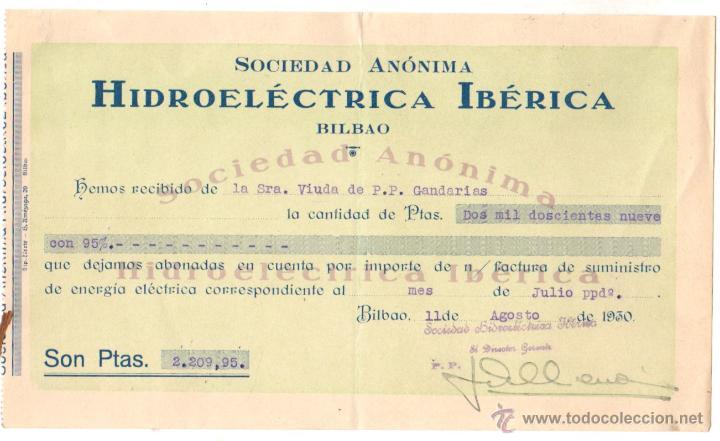 RECIBO SOCIEDAD HIDROELECTRICA IBERICA. BILBAO. AÑO 1930 (Coleccionismo - Documentos - Documentos Bancarios)