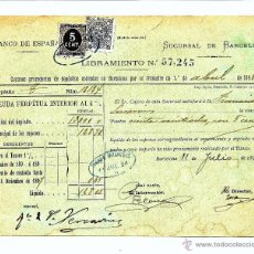 Documentos bancarios: AÑO 1898 - BANCO DE ESPAÑA SUCURSAL DE BARCELONA - LIBRAMIENTO - CON TIMBRE MOVIL E IMPUESTO GUERRA. Lote 48346689