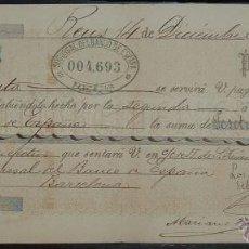 Documentos bancarios: LETRA DE CAMBIO: EXPEDIDA EN REUS - TARRAGONA (1886). Lote 48355549