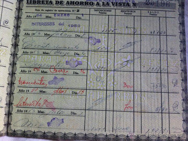 Documentos bancarios: Libreta de ahorros Caja de Pensiones para la Vejez y de Ahorros 1952 - Foto 2 - 48383498