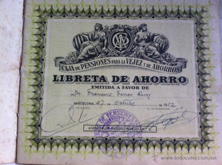 Documentos bancarios: Libreta de ahorros Caja de Pensiones para la Vejez y de Ahorros 1952 - Foto 3 - 48383498