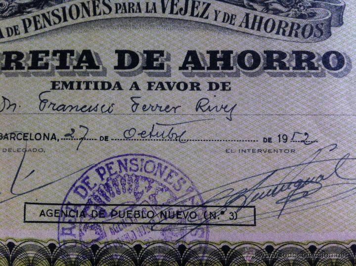 Documentos bancarios: Libreta de ahorros Caja de Pensiones para la Vejez y de Ahorros 1952 - Foto 4 - 48383498