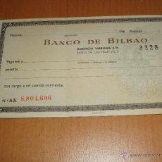 Documentos bancarios: TALONARIO DE CHEQUES AÑOS 1960 BANCO BILBAO. Lote 48424436