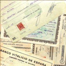 Documentos bancarios: LOTE 6 RECIBOS DIFERENTES BANCARIOS - BILBAO, CENTRAL, POPULAR, DE CRÉDITO, VITALICIO Y COCA. Lote 48583342