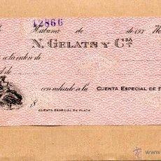 Documentos bancarios: CHEQUE. TALON DE N. GELATS Y COMPAÑIA. HABANA. CUBA. HAVANA. AÑOS 1930. ALEGORIA COMERCIO. NUEVO.. Lote 48602236