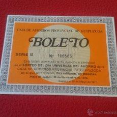 Documentos bancarios: ANTIGUO Y ESCASO BOLETO CAJA DE AHORROS PROVINCIAL DE GUIPUZCOA 1970 SORTEO DOS MILLONES DE PESETAS . Lote 48613791