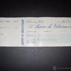 Documentos bancarios: VILANOVA I LA GELTRU - VILLANUEVA - BANCO DE VILLANUEVA - TALON . Lote 48852476