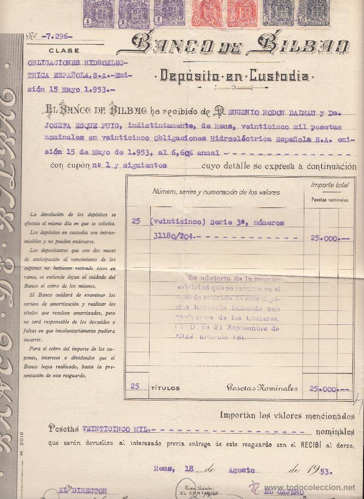 DEPOSITO DE VALORES BANCO DE BILBAO DE REUS AÑO 1953 (Coleccionismo - Documentos - Documentos Bancarios)
