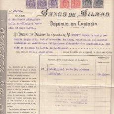 Documentos bancarios: DEPOSITO DE VALORES BANCO DE BILBAO DE REUS AÑO 1953. Lote 49079003