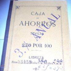 Documentos bancarios: LIBRETA DE CAJA DE AHORROS DE SEVILLA DE 1918. Lote 49275305