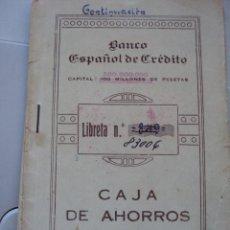 Documentos bancarios: LIBRETA DEL BANCO ESPAÑOL DE CREDITO 1942. Lote 49357463
