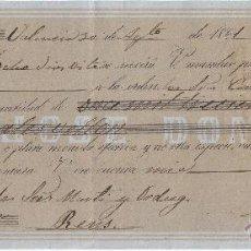 Documentos bancarios: LETRA DE CAMBIO AÑO 1861 EXPEDIDA EN VALENCIA POR JOSÉ DOMINGO A CARGO DE MARTI I ORDEIG DE REUS. Lote 49791915