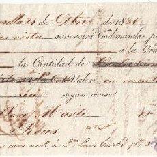 Documentos bancarios: LETRA DE CAMBIO AÑO 1836 EXPEDIDA EN MARSELLA A CARGO DE JOSÉ MARTI DE REUS 433 LIBRAS. Lote 50027886