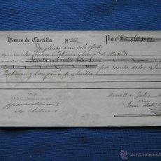 Documentos bancarios: DOCUMENTO LETRA O RECIBO BANCO DE CASTILLA DE 1872 - 60.000 REALES - PICKMAN Y COMPAÑIA MADRID. Lote 50223112