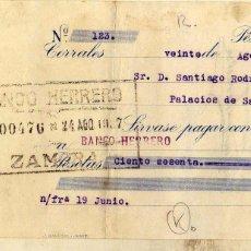 Documentos bancarios: CHEQUE, CORRALES. BANCO HERRERO. ZAMORA. HIJOS DE SANTIAGO. . Lote 50291222