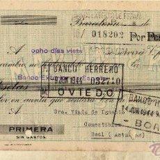 Documentos bancarios: MARTINI & ROSSI BARCELONA. BANCO HERRERO. PAGARÉ O CHEQUE. . Lote 50307683
