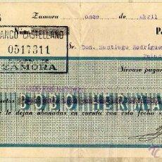 Documentos bancarios: BOBO HERMANOS ZAMORA. BANCO CASTELLANO. 1939 CHEQUE O PAGARÉ. . Lote 50317309